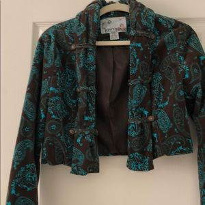 KENSI VELVET CROPPED BROWN w/TURQUOISE PAISLEY